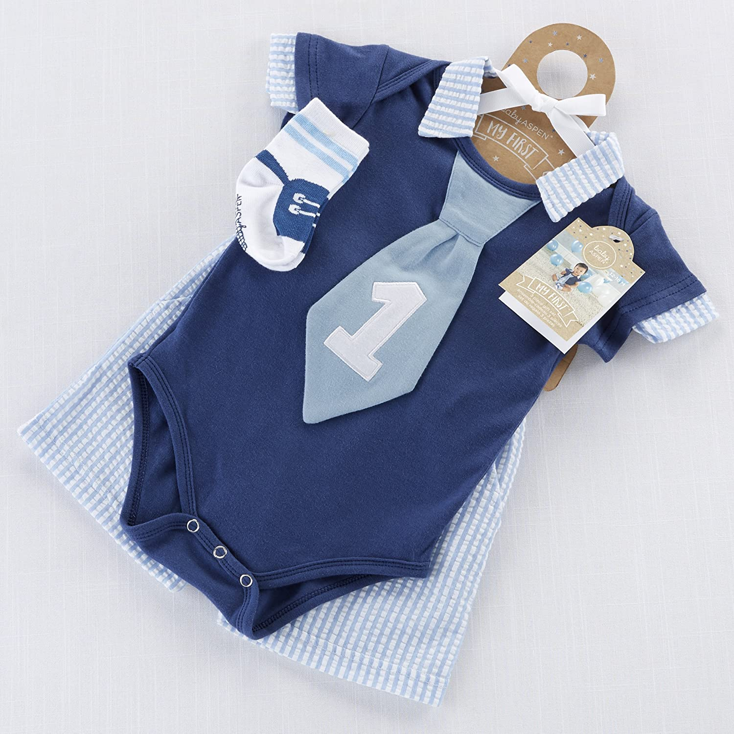 2102ae22d Amazon.com: Baby Aspen My First Birthday Outfit for Boys | Little Fella  Seersucker Outfit: Baby