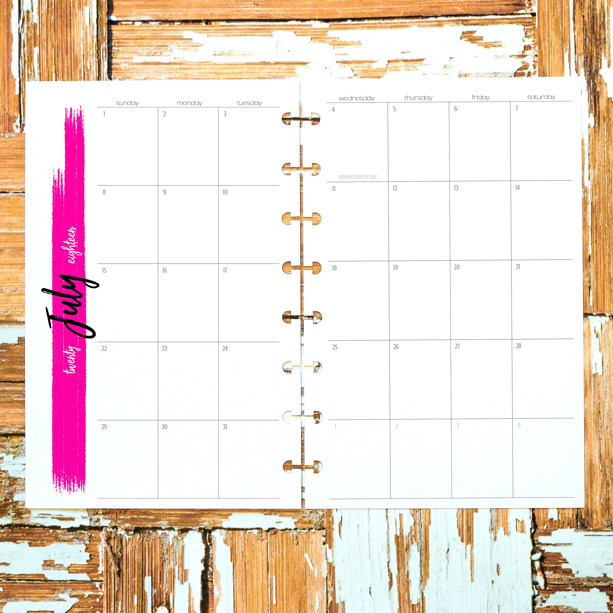 2018 2019 Dated Monthly Calendar Insert for Disc-bound Junior such as Staples Arc TUL | Untabbed Sunday