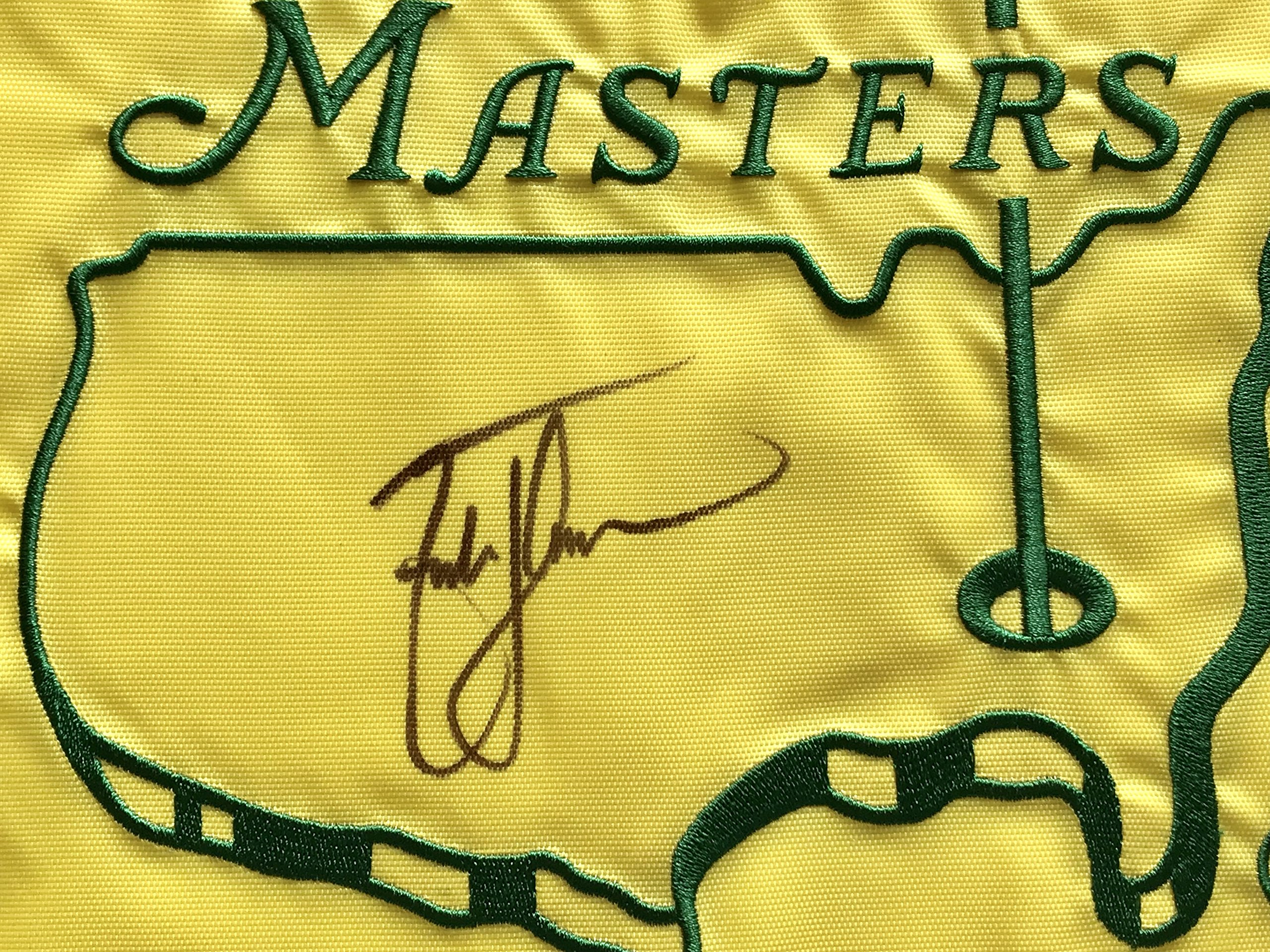 Zach Johnson signed 2007 Masters golf Flag augusta national 2018 pga