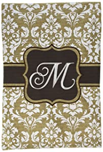 Home Garden Flags Monogram - Damask Cream & Chocolate Brown - 12.5 x 18 (Letter M)