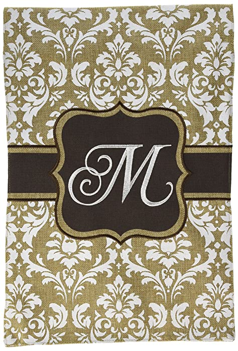 Home Garden Flags Monogram - Damask Cream & Chocolate Brown - 12.5 x 18 (Letter M)