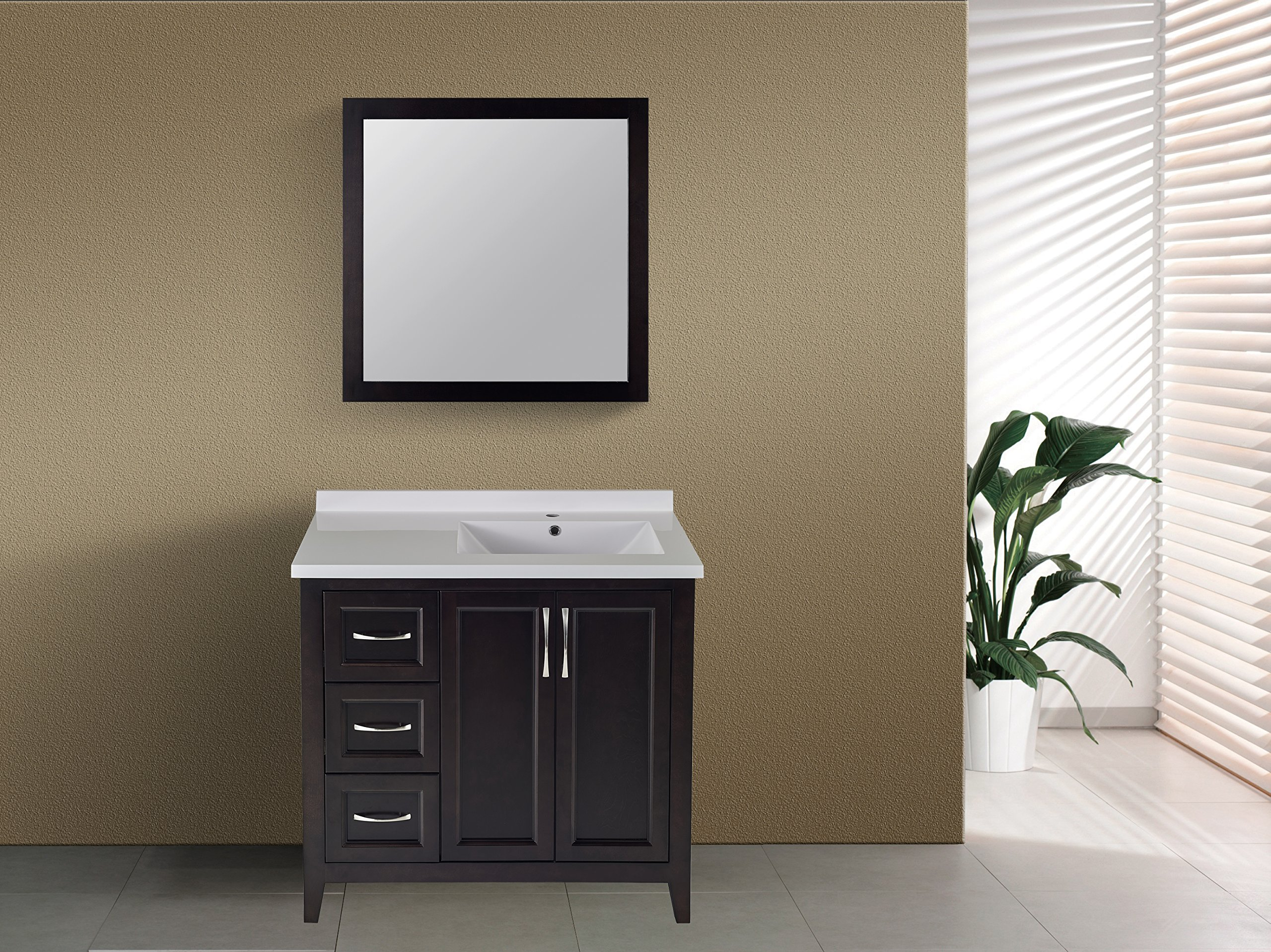 Winette New 36'' Espresso Single Bathroom Vanity Set with One Piece Built White Cultured Marble Countertop and Sink, 2 Doors, 3 Drawers, Matching Mirror A-WVM36E Sold Separately by Winette