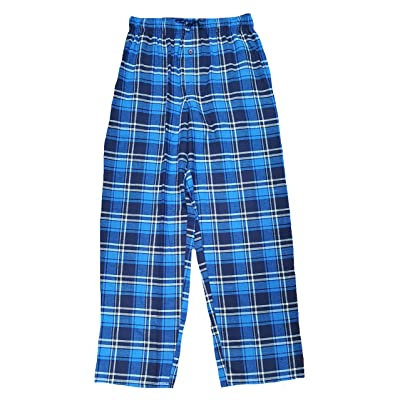 Blue Plaid Flannel Graphic Sleep Lounge Pants at Amazon Men's Clothing store