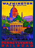 A SLICE IN TIME 1930s Washington D.C. Pennsylvania Vintage Railroad Travel Advertisement Art Collectible Wall Decor Poster Print. Measures 10 x 13.5 inches