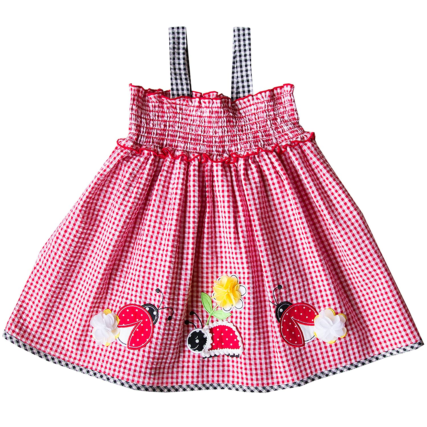 bdee9fc9201 Amazon.com  Good Lad Apparel 2 6x Girls Red Seersucker Sundress with Lady  Bug Applique  Clothing