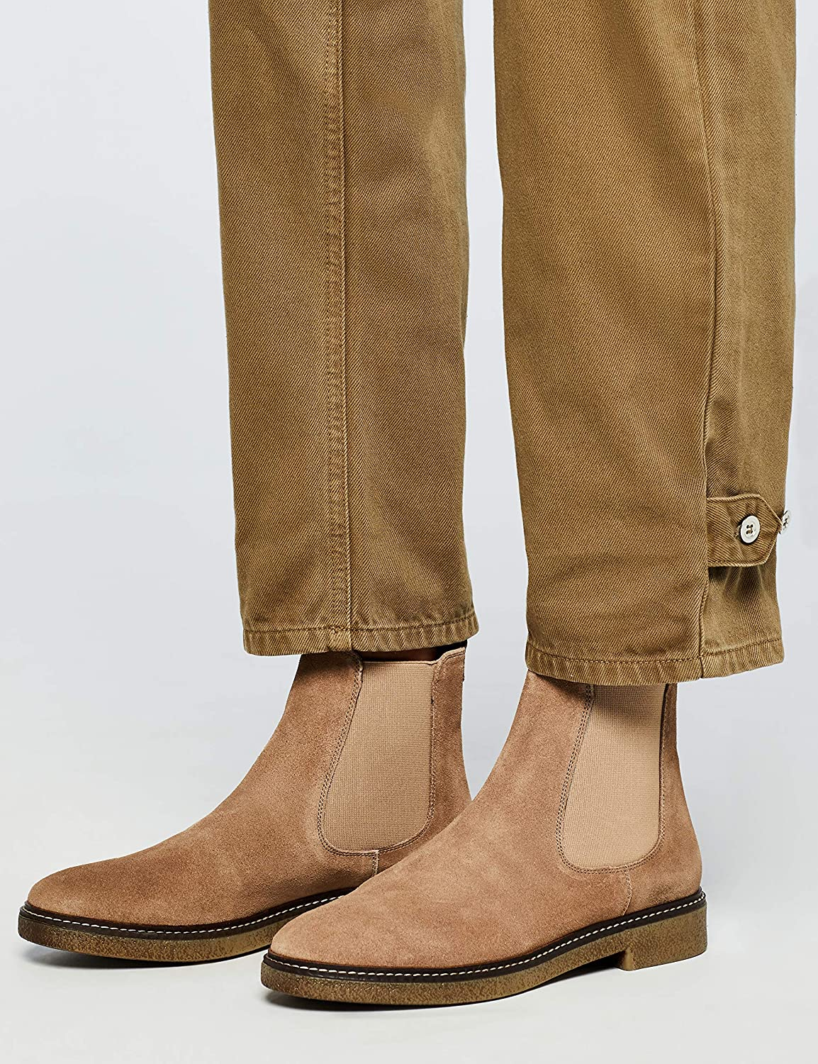 Amazon-Marke: find. Damen Chelsea Boots Grau Taupe Taupe