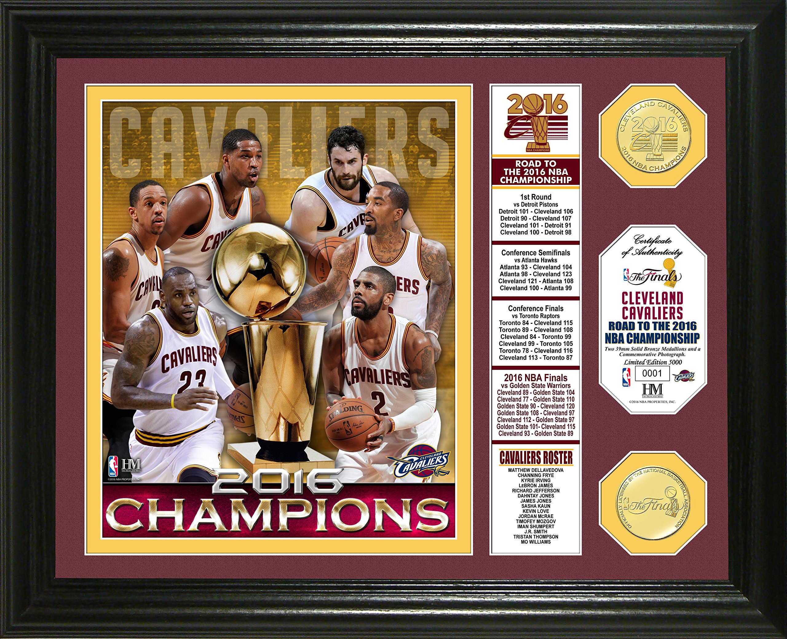 Highland Mint Cleveland Cavaliers 2016 NBA Finals Champions 13-Inch-by-16-Inch Banner Coin Photo Mint, Bronze