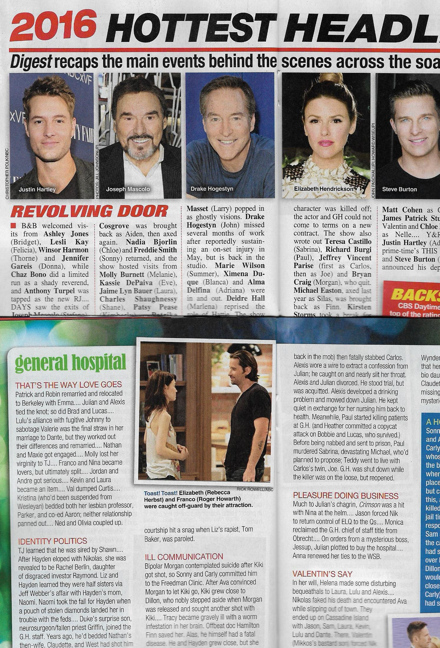 2016: THE YEAR IN REVIEW SOAP OPERA DIGEST MAGAZINE [December 26