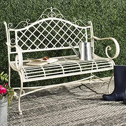 Stupendous Safavieh Pat5017A Collection Adina Antique White Wrought Iron 51 25 Outdoor Garden Bench Ibusinesslaw Wood Chair Design Ideas Ibusinesslaworg