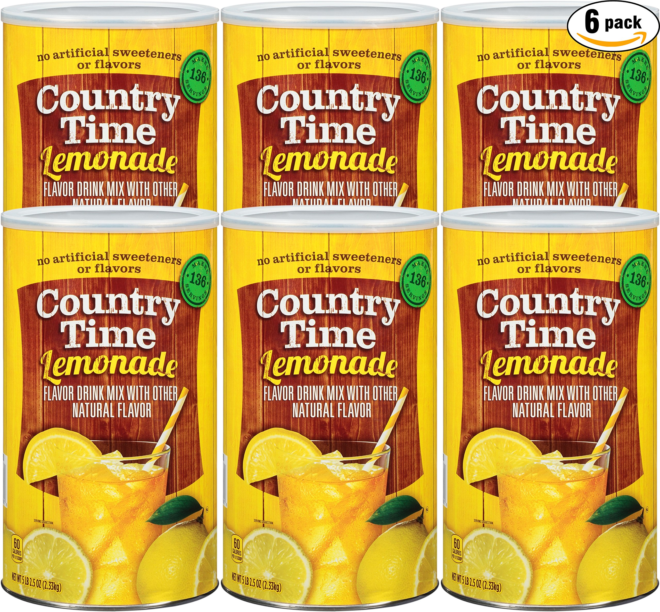 Country Time Lemonade Drink Mix, 82.5 oz Can (Pack of 6, Total of 495 Oz) by Country Time