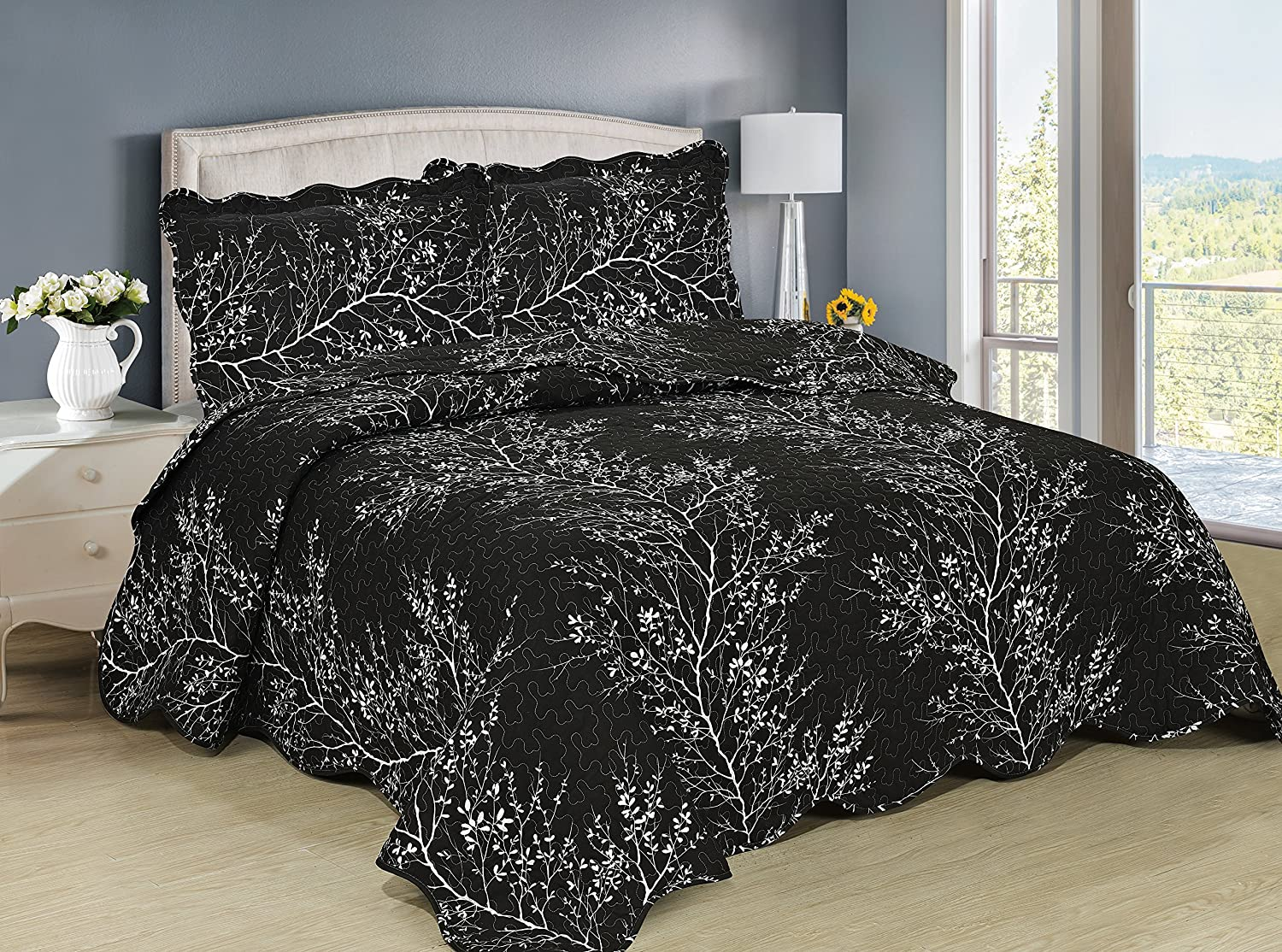 3-Piece Black Silhouette Quilted Bedspread Set, Wrinkle Resistant, Multiple Styles ( King )