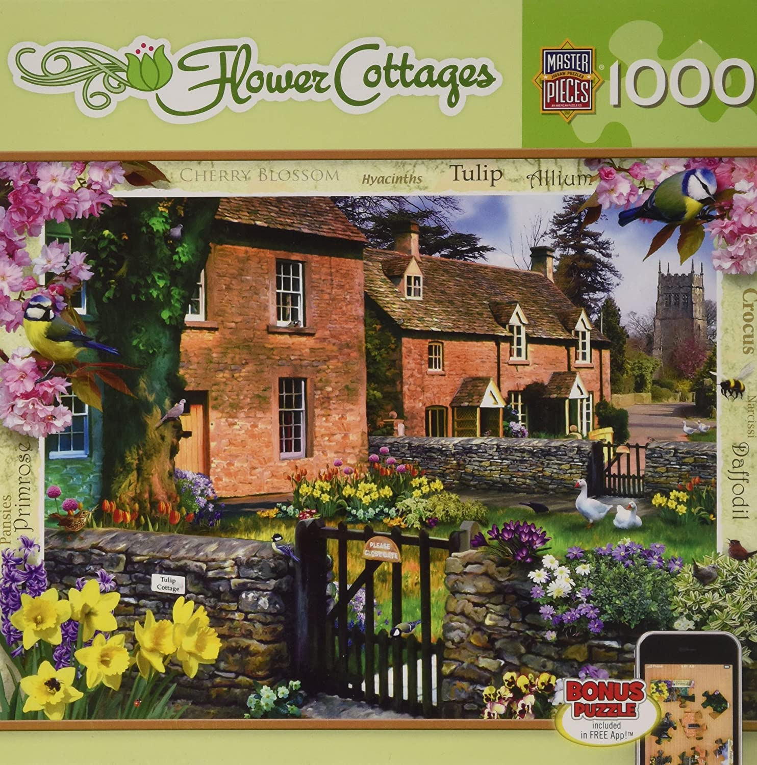 71403 MasterPieces Flower Cottages Lakeland Cottage Jigsaw Puzzle Art by Howard Robinson 1000-Piece Masterpieces Puzzle Co