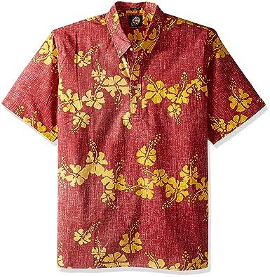fad9f1bc Reyn Spooner Men's 50th State Flower Spooner Kloth Classic Fit Pullover  Shirt, Crimson, ...