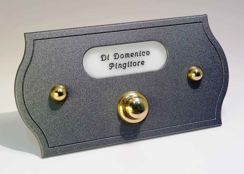 pour maison // jardin // ext/érieur // ameublement // design Neroni Mameli 503 Aurelio Plaque avec bouton de sonnette en laiton poli avec cache-vis et plaque nominative personnalisable fixa avec bouton /électrique aliment/é en 24/V