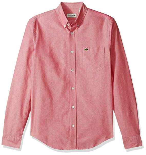 b38ae8714a Lacoste Mens Long Sleeve Regular Fit Button Down Oxford Solid Woven ...