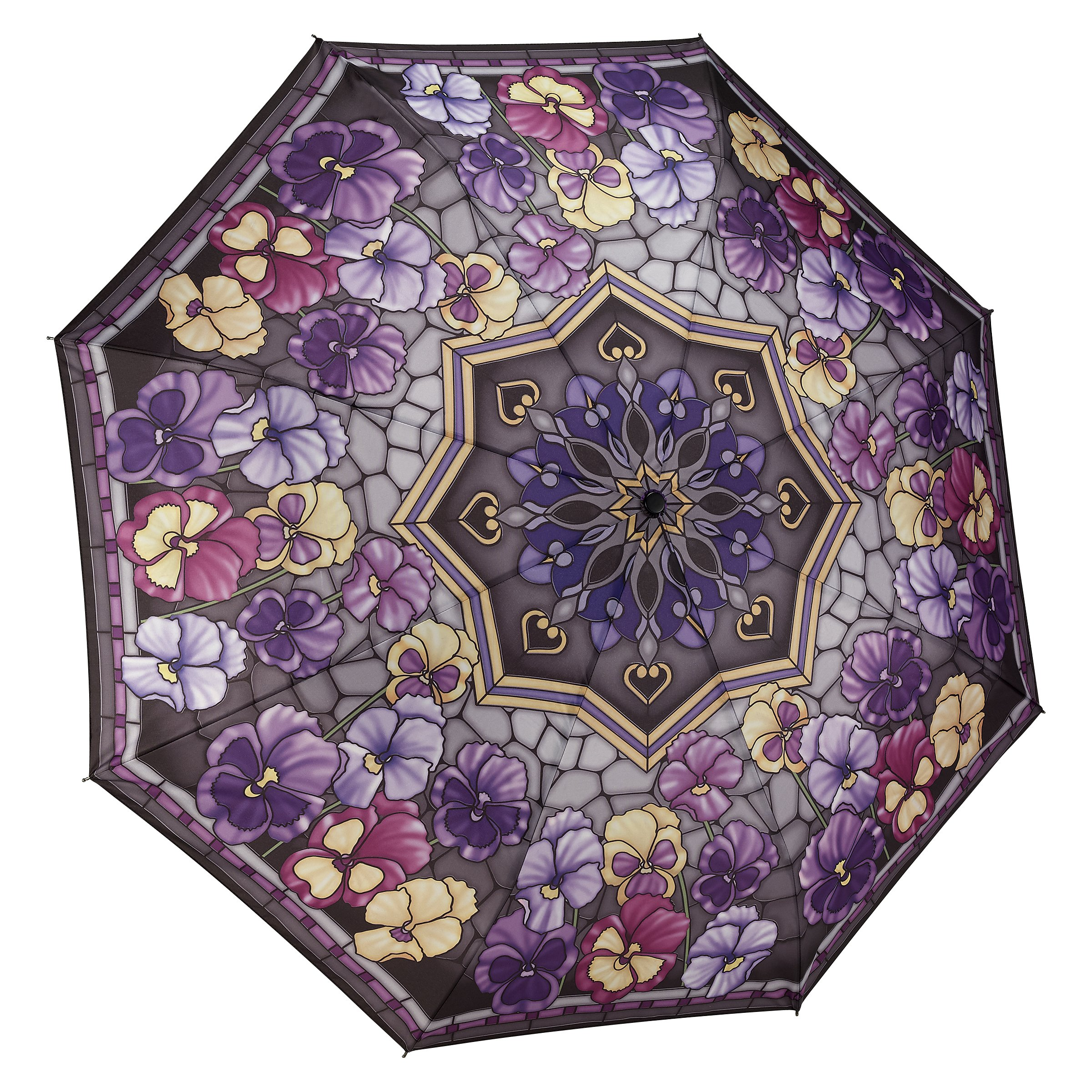 Galleria Stained Glass Pansies Folding Umbrella