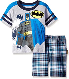 Warner Brothers Little Boys' 2 Piece Batman Tee and Plaid Short Set Gray 2T CAN Character Children's Apparel 4wb6504