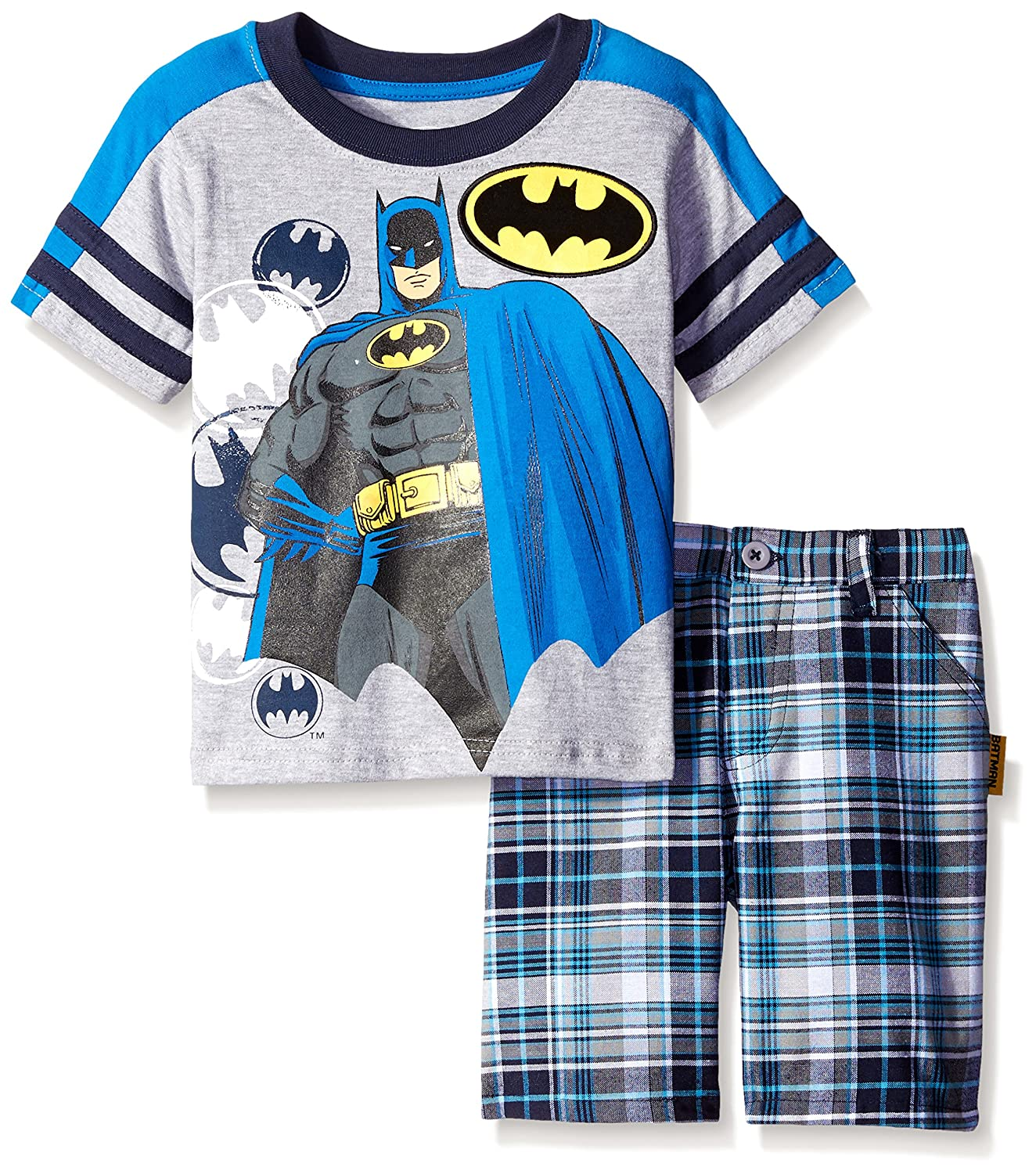 Warner Brothers Little Boys' 2 Piece Batman Tee and Plaid Short Set