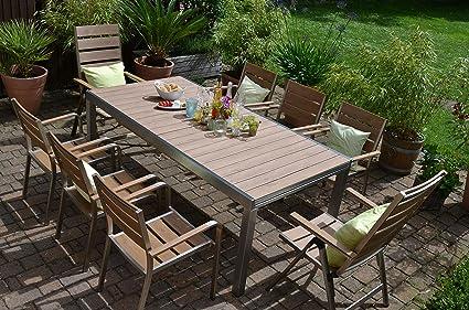 bomey aluminio conjunto Muebles de Jardín I Orlando 9 piezas I edelstahlbeschichtete essgarnitur en teca Look I 2 Respaldo Alto + 6 sillas plegables + mesa I Dining Lounge para terraza +