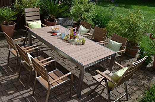 bomey aluminio conjunto Muebles de Jardín I Orlando 9 piezas I ...