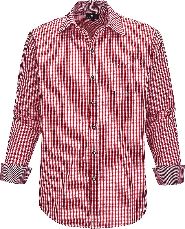 Hombre Camisa Manga Larga Slim Fit S - 3XL - Modello Oktoberfest Quadro: Amazon.es: Ropa y accesorios
