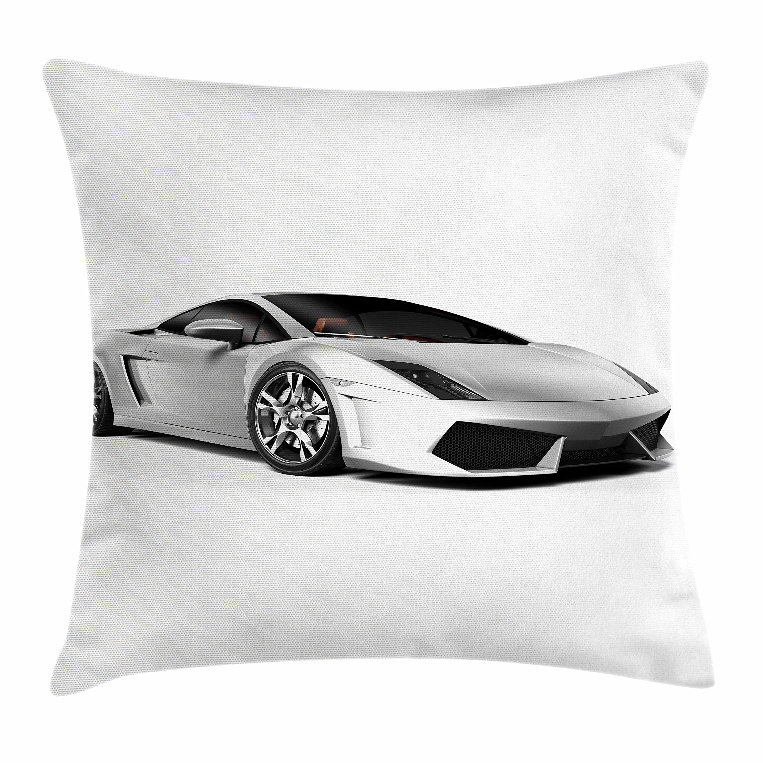 Lunarable Boy's Room Throw Pillow Cushion Cover, Sports Car Elegance with Futuristic Wheels Reflection Design Artful Print, Decorative Square Accent Pillow Case, 20 X 20 Inches, Silver Grey Black