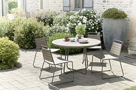 MACABANE 509016 Salon de Jardin Couleur Gris en Teck et ...