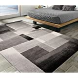 "Silk Road Concepts Collection Contemporary Rugs, 5'3"" x 7'3"", Black"