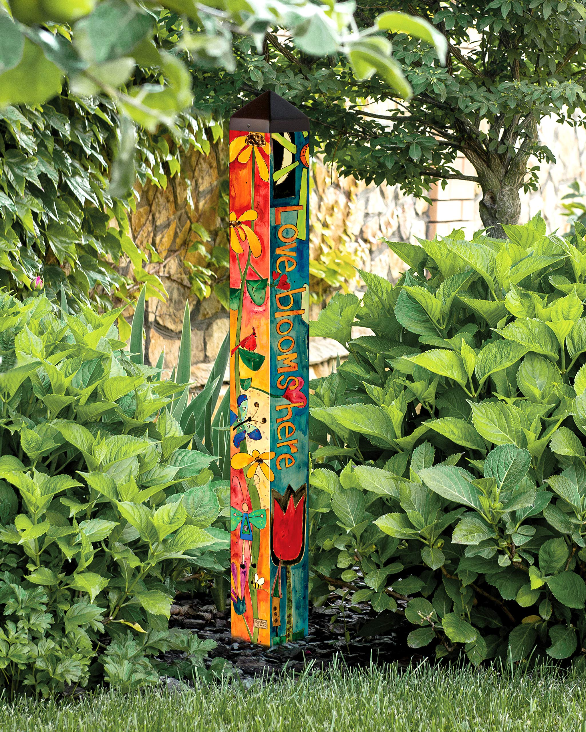 Studio M Love Garden Art Pole Bold Floral Outdoor Decorative Garden Post, Made in USA, 40 Inches Tall by Studio M (Image #3)