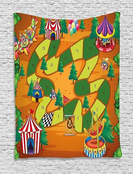 Juego de mesa Tapestry por Ambesonne, tiendas de campaña globos diseño comodines árboles Playful diseño de