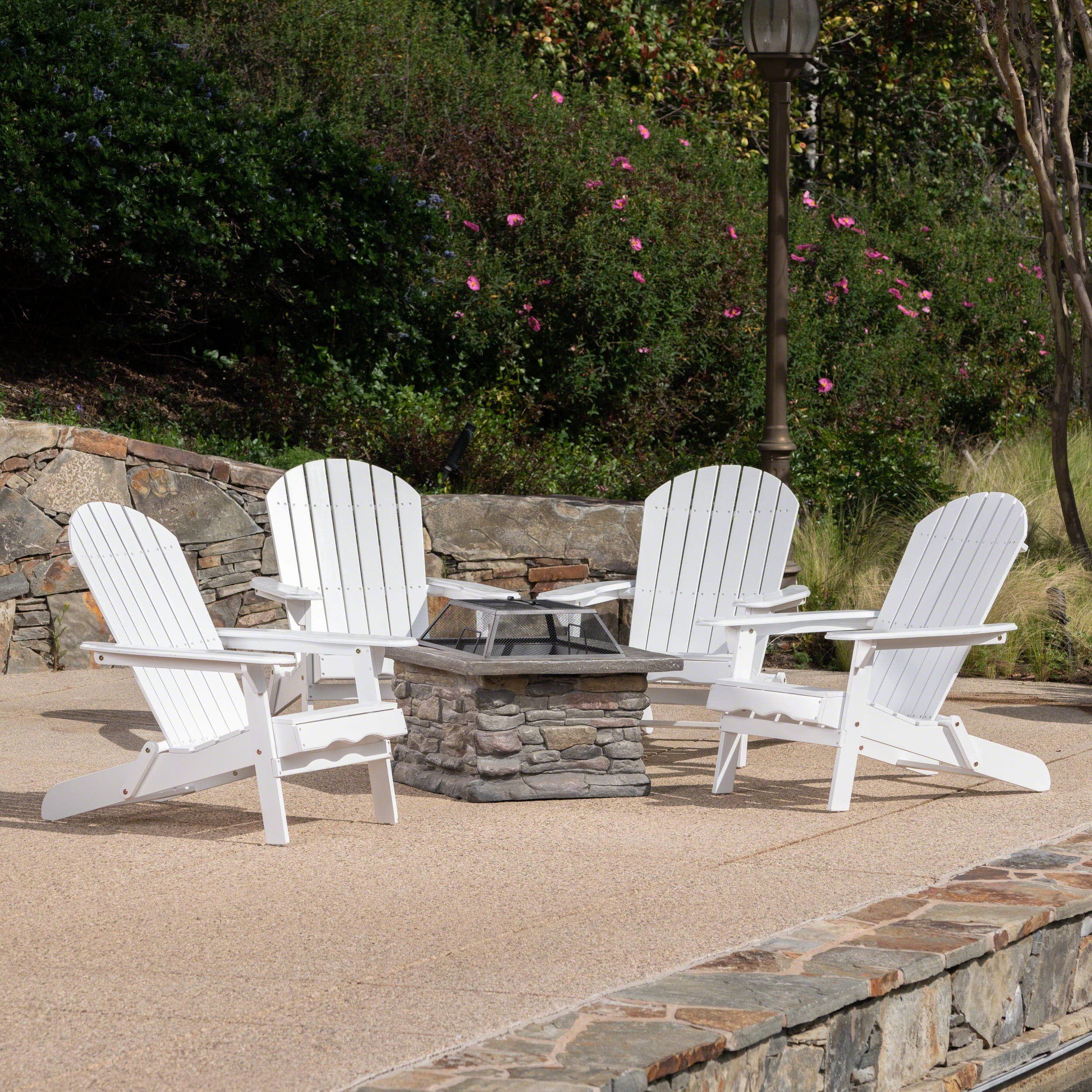 Benson Outdoor 5 Piece Acacia Wood/Light Weight Concrete Adirondack Chair Set with Fire Pit, White Finish and Natural Stone Finish by Great Deal Furniture