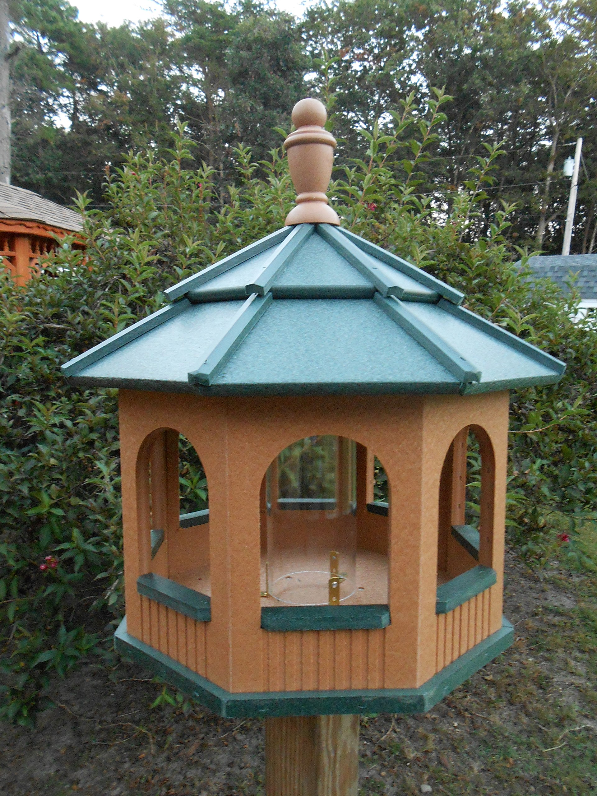 Large Gazebo Vinyl Bird Feeder Amish Homemade Handmade Handcrafted Cedar & Green by Amish Crafted