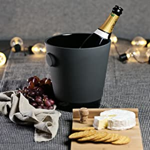 """Magisso 70606 Naturally Cooling Ceramic Champagne Bucket, 6"""" w x 5"""" d x 10"""" h, Black"""