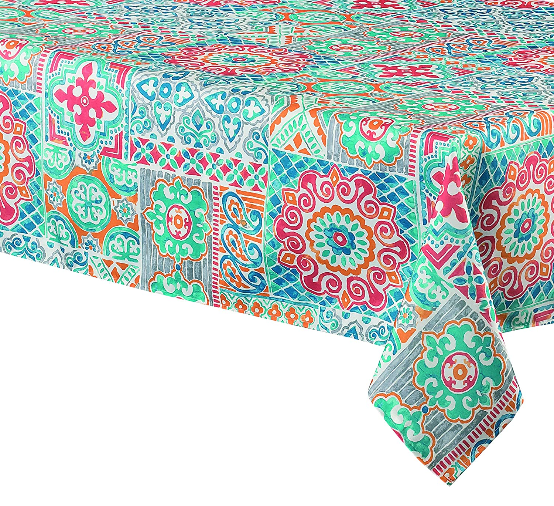 The Table Corner Suzani Blue Rectangular Tablecloth 60x90 inch