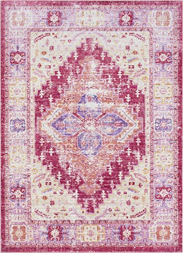 Lancelot Bright Pink and Bright Yellow Updated Traditional Area Rug 2 x 3