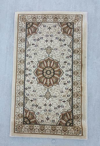 Traditional Door Mat Area Rug Ivory Persian 500,000 Point Design 404 2ft.X3ft.4in.