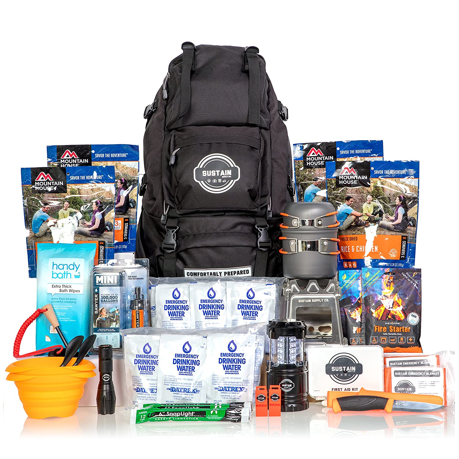 Premium Emergency Survival Bag/Kit – Be Equipped with 72 Hours of Disaster Preparedness Supplies for 2 People Sustain Supply Co. 9-08400