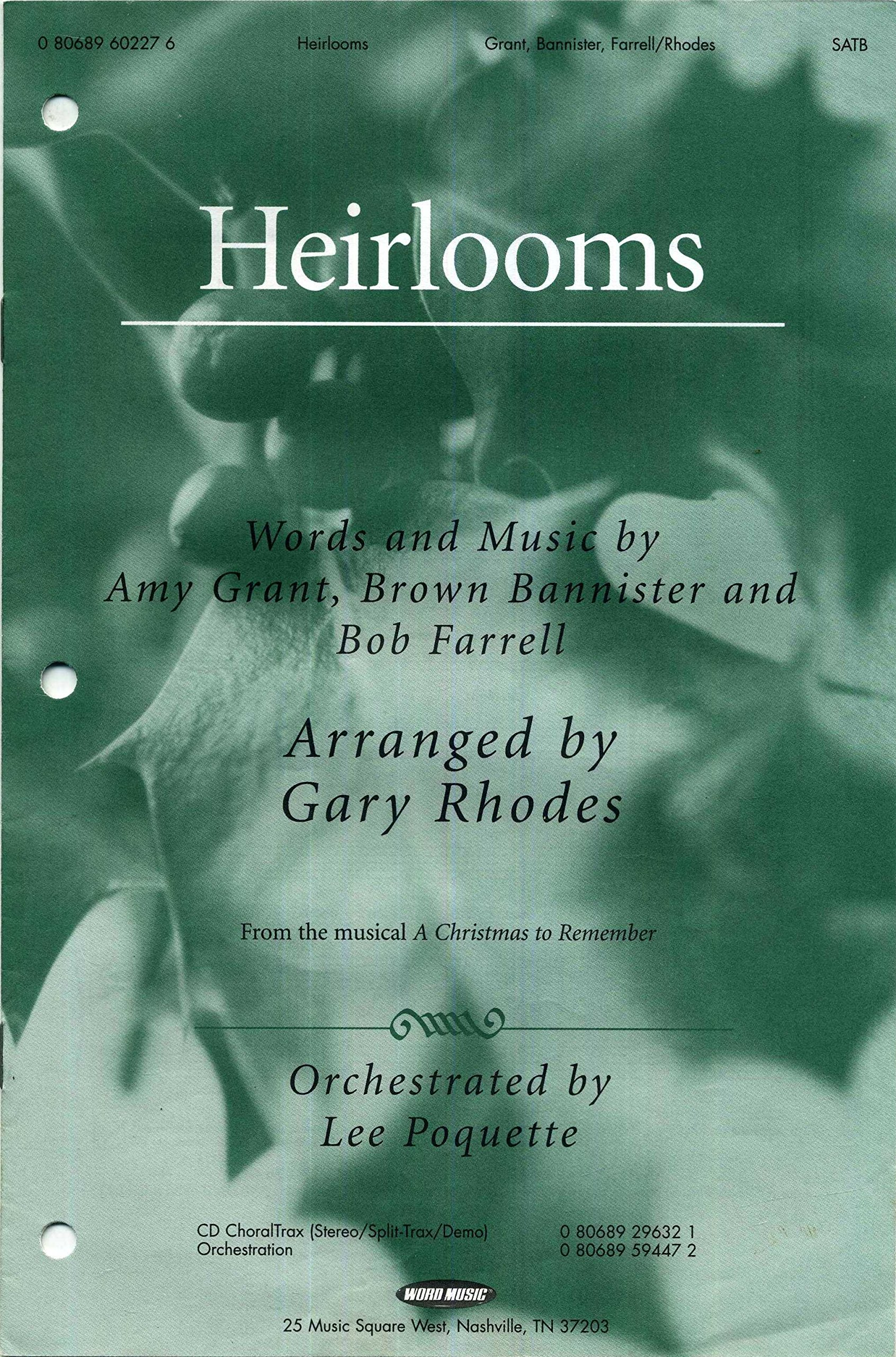 heirlooms from the musical a christmas to remember satb sheet music with piano accompaniment and guitar chords