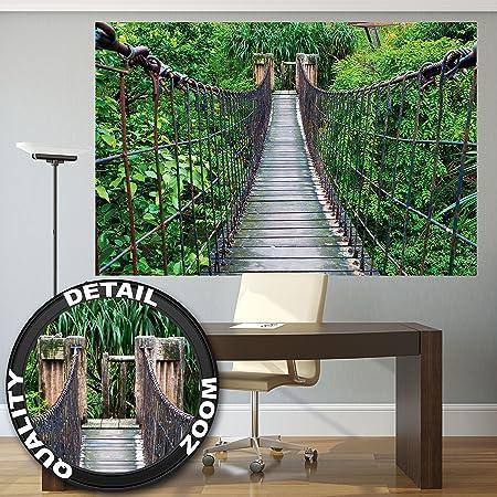 Wall Mural Rope Bridge Decoration Jungle Landscape Nature Adventure on