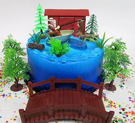 Gone Fishing Fisherman Themed Birthday Cake Topper Set Featuring Camping Angler In Boat With Decorative