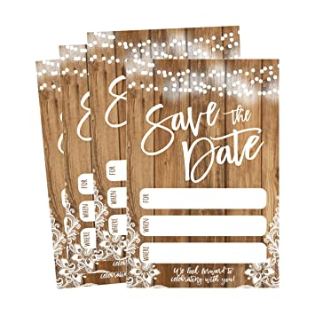 Amazon Com 50 Rustic Save The Date Cards For Wedding Engagement