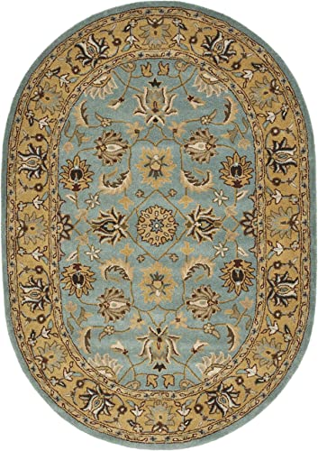 Safavieh Heritage Collection Handcrafted Traditional Oriental Blue and Gold Wool Oval Area Rug 7'6″ x 9'6″