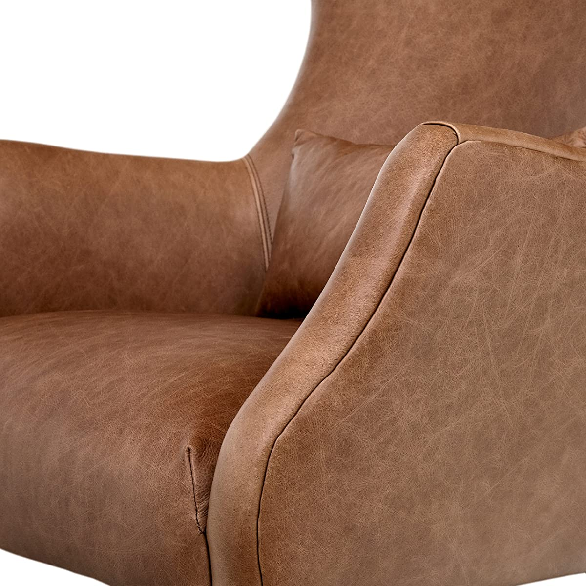 "Rivet Parks Mid-Century Modern Wingback Leather Chair, 30.5"" W, Saddle"