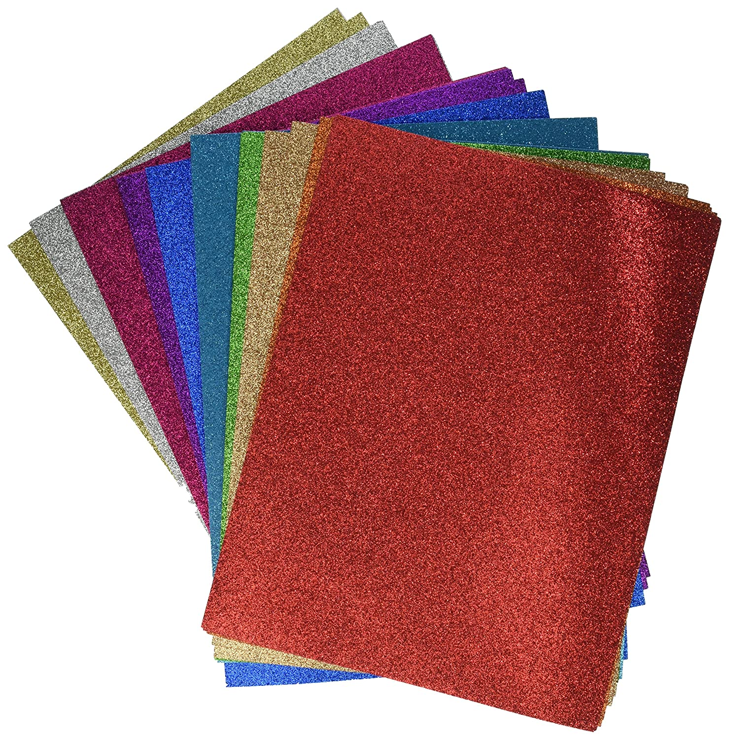 Darice Glitter Cardstock Paper Pack, Heavyweight 40 sheets Pack, 10 assorted colors GX-1700-25