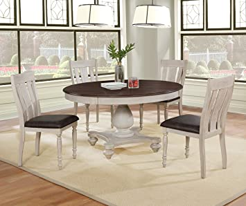 Amazon Com Roundhill Furniture Arch Solid Wood Dining Set Round Table Four Chairs Distressed White And Dark Oak Table Chair Sets