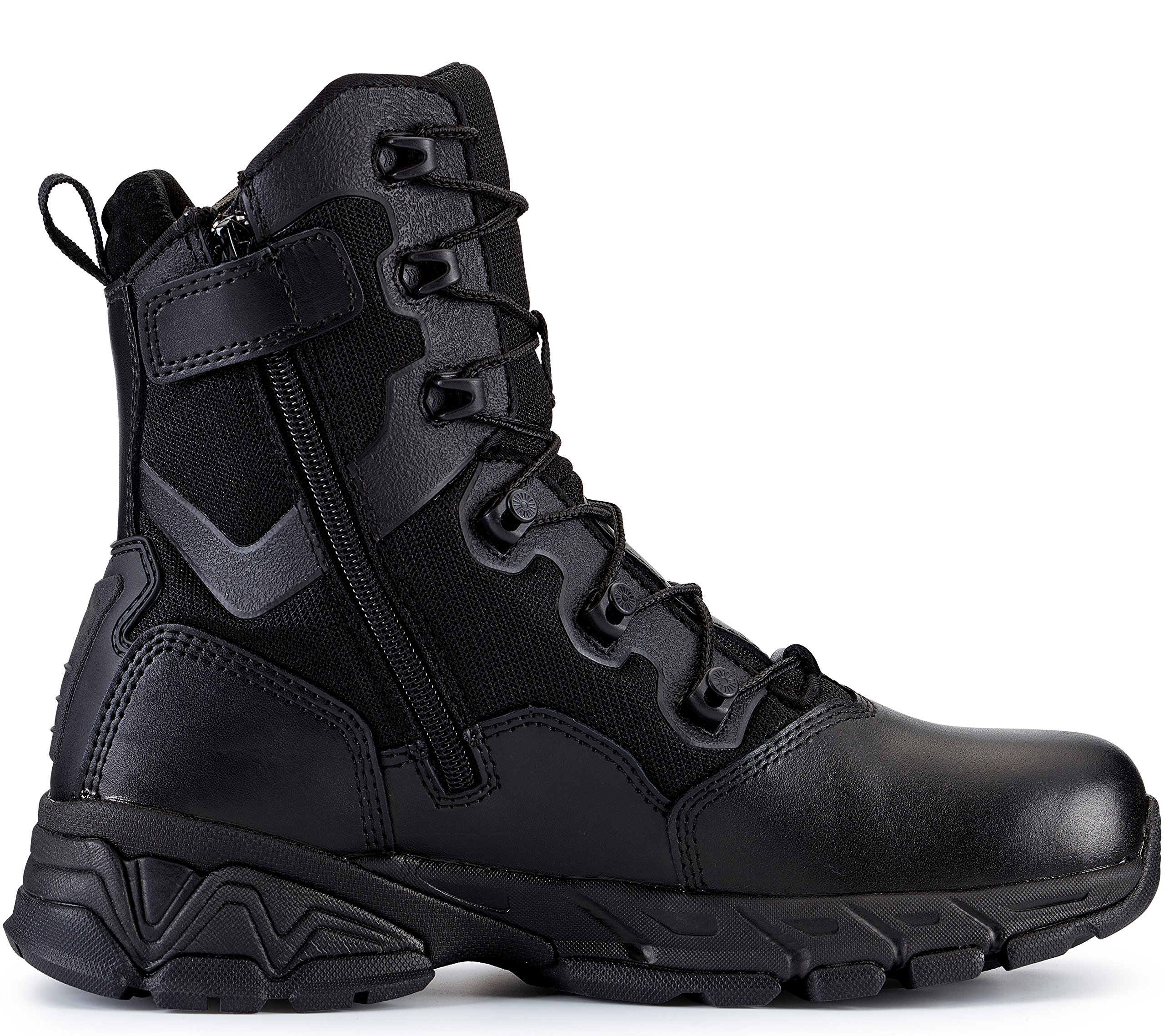 Maelstrom TAC ELITE Men's 8'' Black Waterproof Boots With Side Zipper for Military Tactical Work Security | Waterproof Athletic Stylish Comfortable Lightweight Boots | One year Manufacturer's Warranty, Black, Size 12W