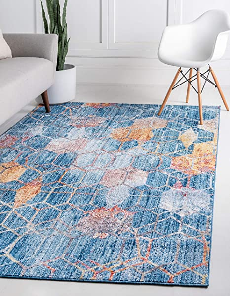 Amazon Com Unique Loom Rainbow Collection Geometric Abstract Trellis Modern Watercolor Blue Area Rug 3 3 X 5 3 Furniture Decor