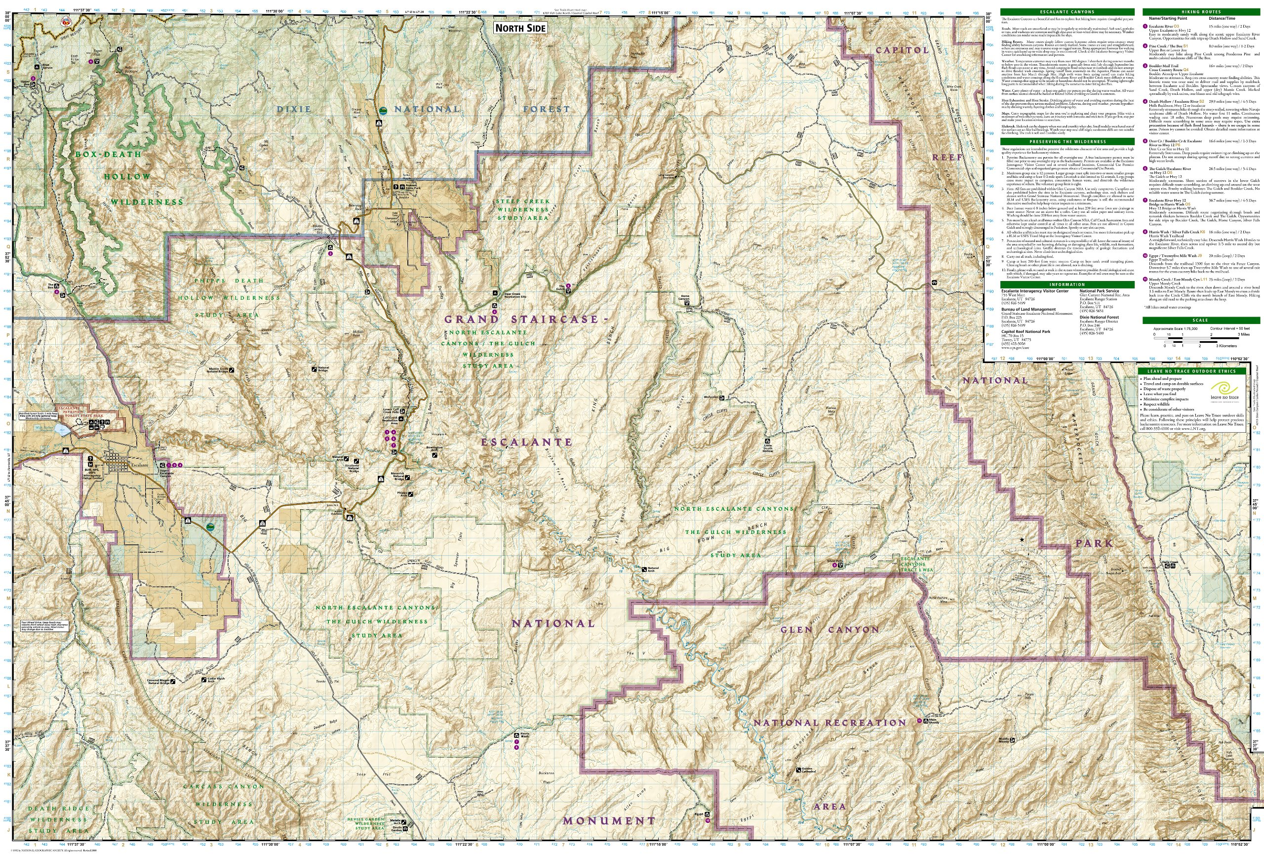 Grand Staircase Escalante Map Canyons of the Escalante [Grand Staircase Escalante National  Grand Staircase Escalante Map