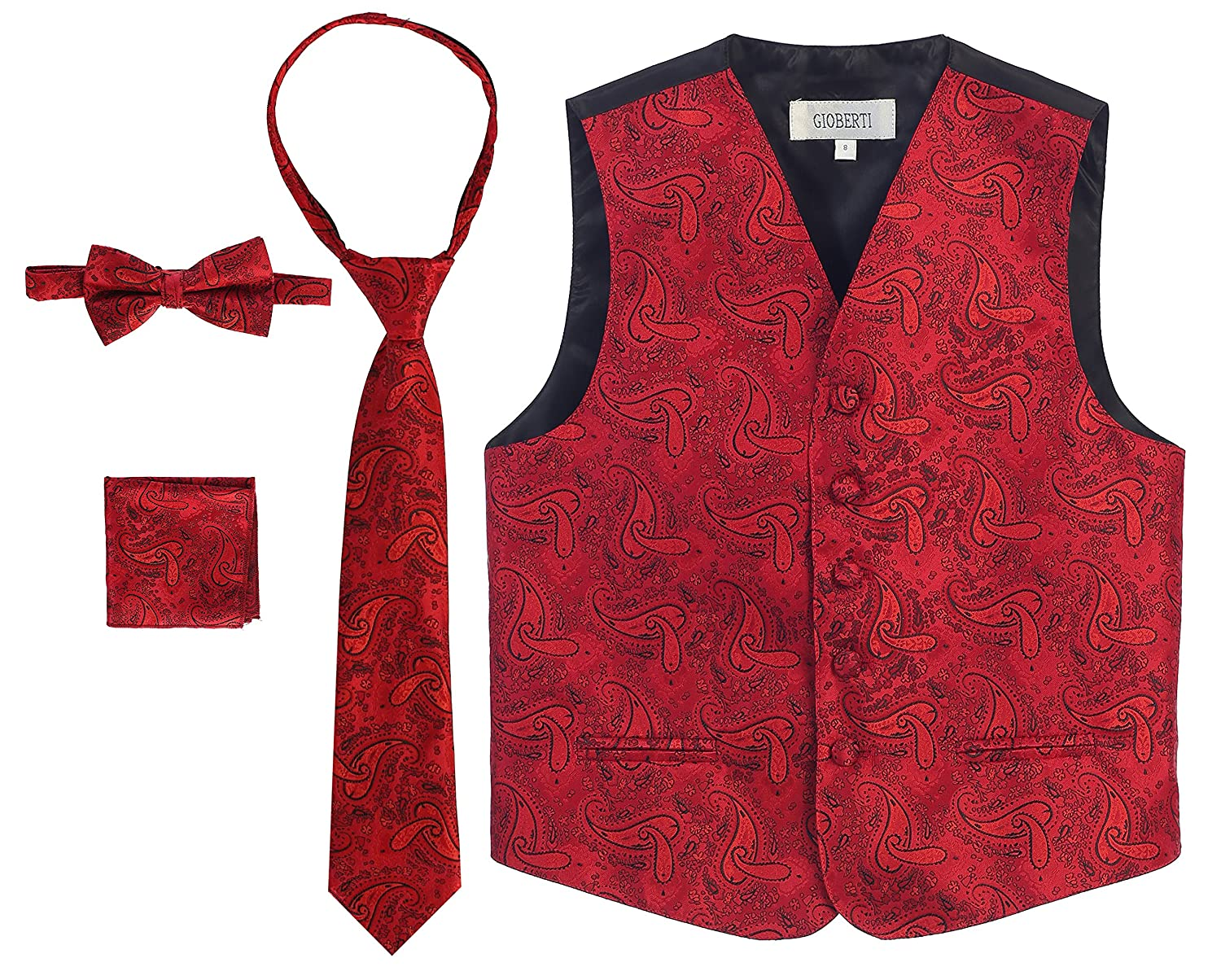 Gioberti Boy's 4 Piece Formal Paisley Tuxedo Vest, Bowtie, Tie, Pocket Square Set VSK-86P