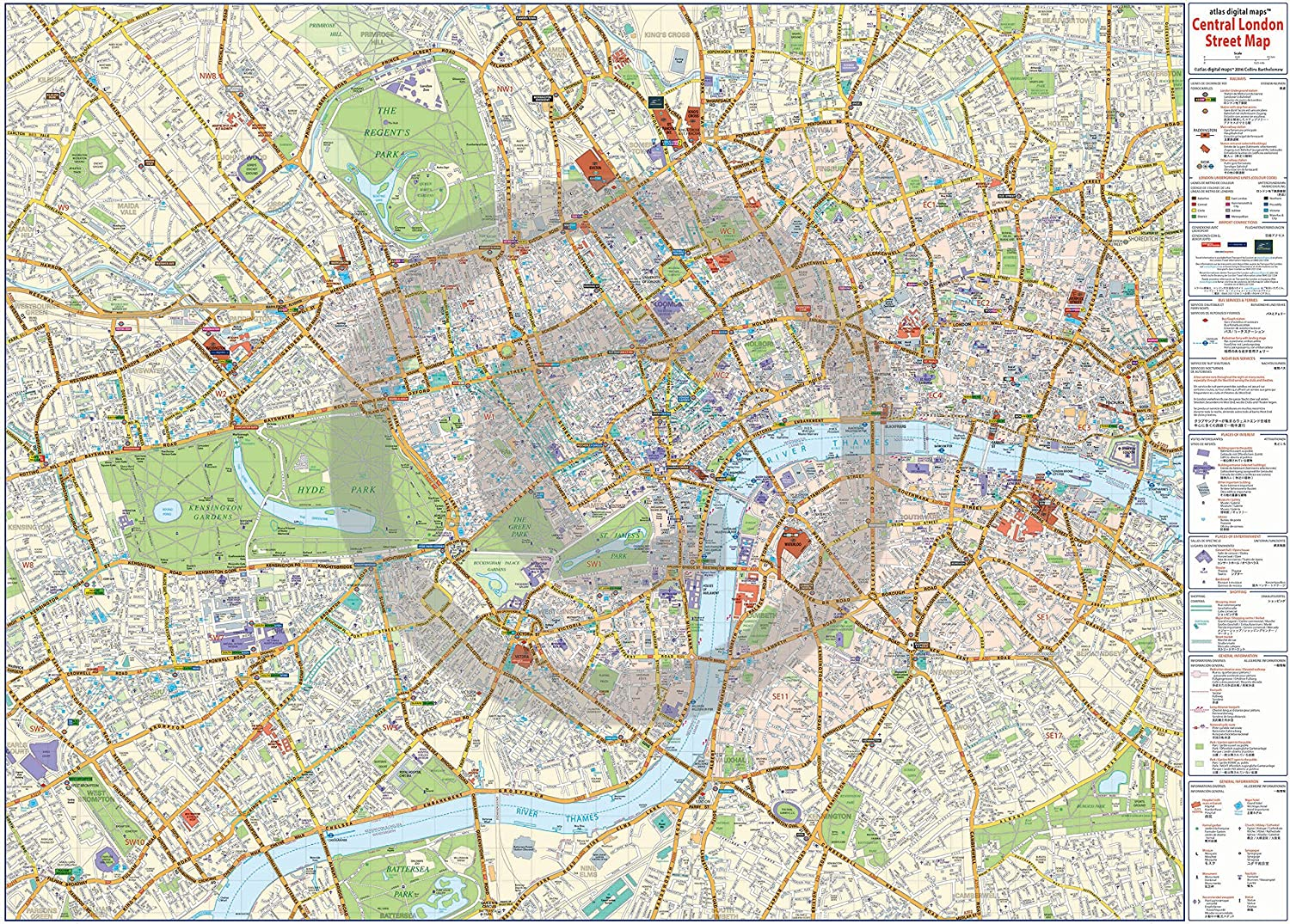 the map of london Huge Laminated Encapsulated Central London Map Poster